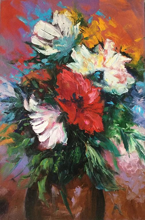 Flores modernas, pintura oleo, artista Yolanda, cursos al oleo, Bogota