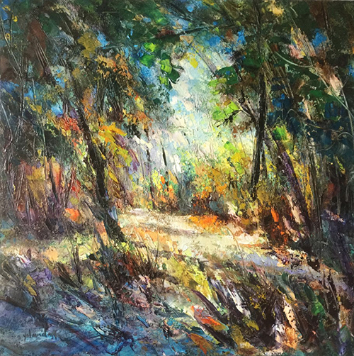 Bosque impresionista, arte impresionista, oleo, arte, pintora Yolanda Pinto, cursos oleo, Bogota